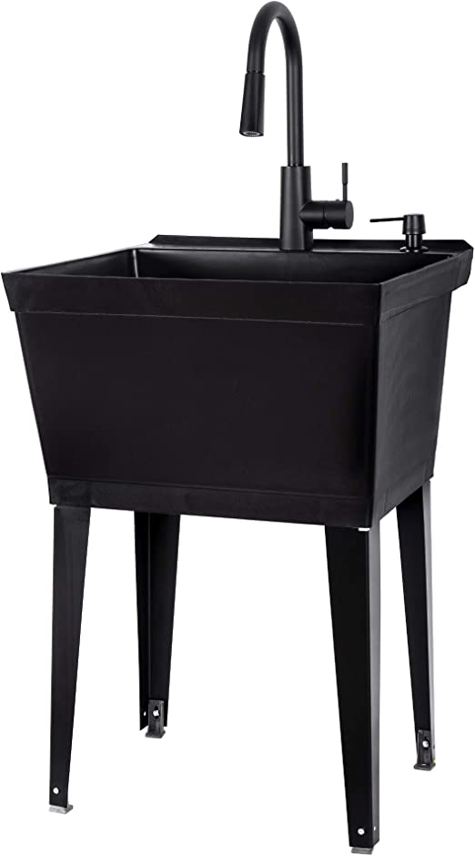 All Black Utility Sink With High Arc Black Kitchen Faucet By Vetta Pull Down Sprayer Spout Heavy Duty Slop Sinks For Washing Room Basement