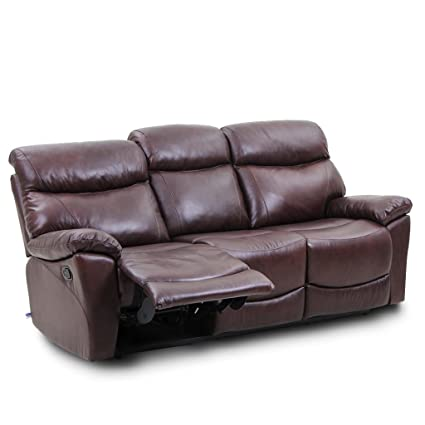 Charmant VH FURNITURE Top Grain Leather Reclining Sofa 3 Seats In Brown