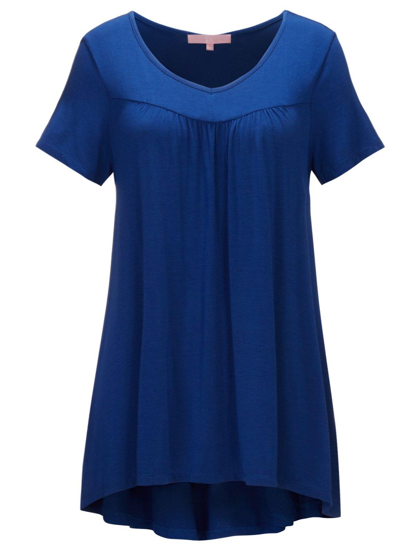 Regna X Women's Short Sleeve V Neck Plus Size Tunic Tops for Leggings Blue 3XL