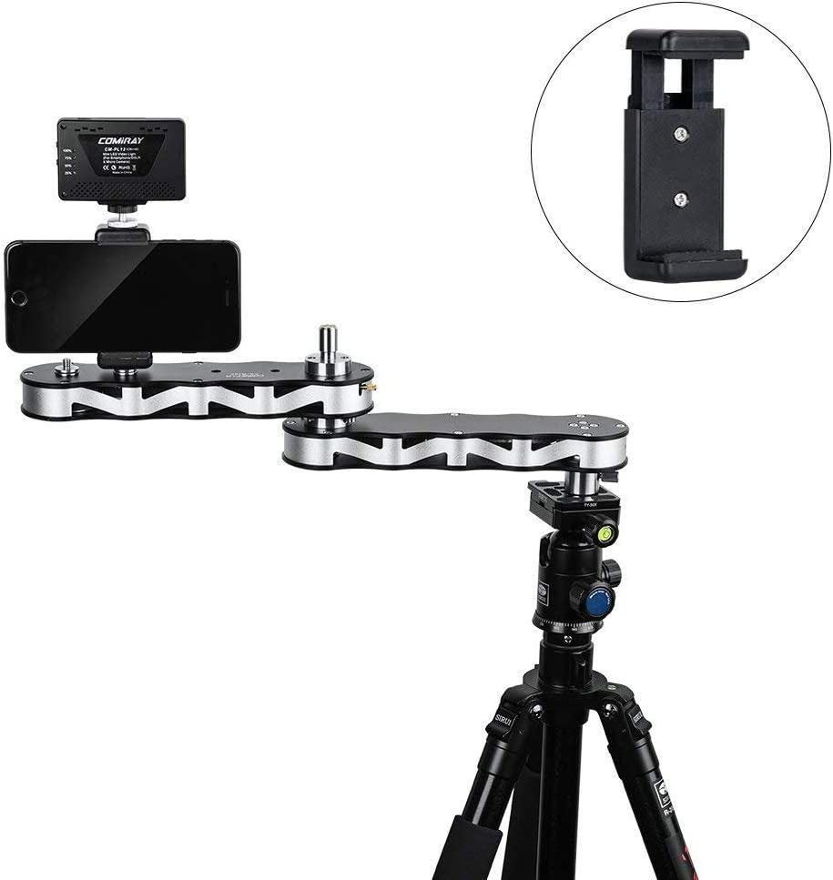 Commlite CS-R700 Mini Aluminum Alloy Camera Slider Rail Track Dolly with Panning and Linear Motion for DSLR Camera,Micro Camera Smartphone with 4-Times Sliding Distance Foldable Camera Video Slider