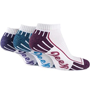 Jeep Womens 3 Pair Cushioned Cotton Trainer Socks