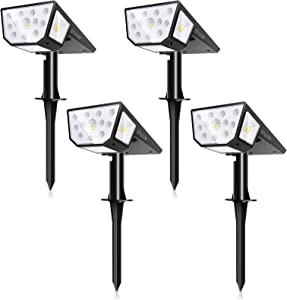 39 LEDs Solar Landscape Spotlights, SOUONS IP67 Waterproof Outdoor Solar Powered Security Wall Light 2 Modes Solar Landscaping Lighting for Yard Garden Garage Pool Patio (4PACK, Warm White)