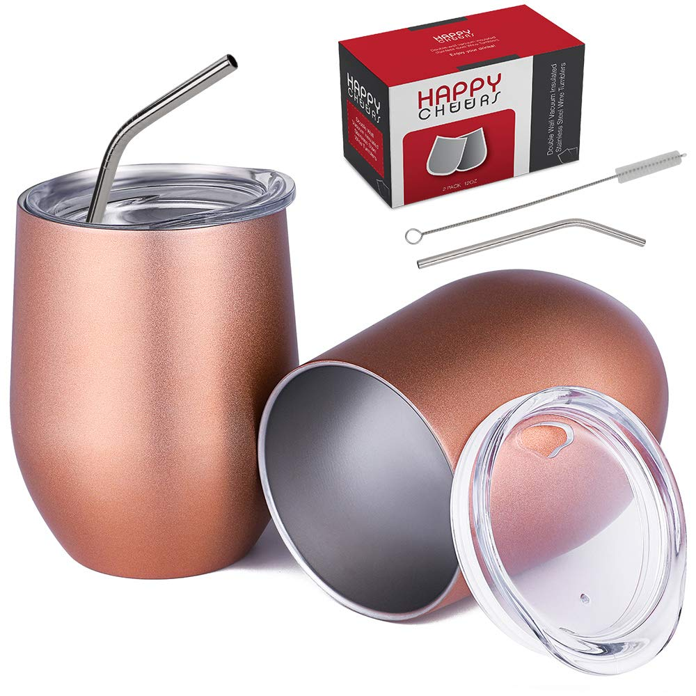 Happycheers Stainless Steel Wine Tumbler Cups with Lid-12 Oz Vacuum Insulated Metal Water Glasses Set of 2 for Coffee Drink Cocktail Outdoor Travel,with Gift Box, 12 oz - 2 pack, AAA Rose Gold