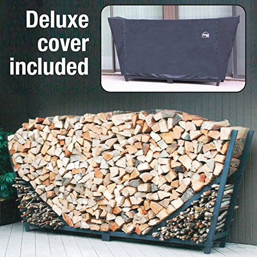 - Shelter It Slanted Firewood Log Rack with with Kindling Wood Holder and Waterproof Cover, 10', Black