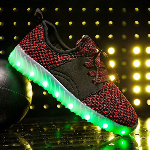 Anclear Garçons Et Filles Low-top Led Allumer Les Chaussures Usb Charge Clignotant Sneakers Rouge