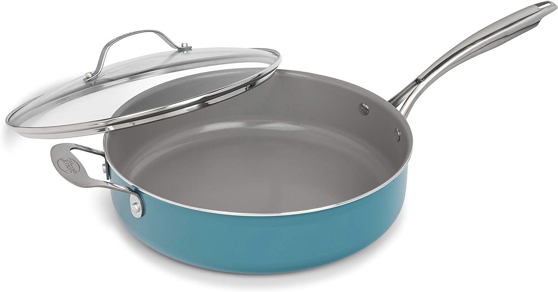 GOTHAM STEEL Ocean Blue Sauté Pan 5.5 Quart Multipurpose Nonstick Jumbo Cooker with Glass Lid, Stainless Steel Handle, Oven & Dishwasher Safe