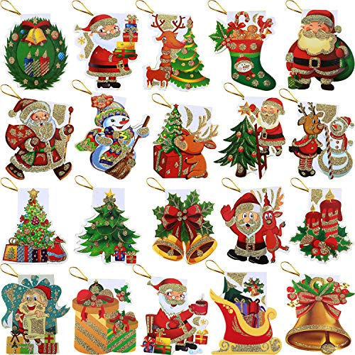 Gejoy 160 Pieces Christmas Gift Tags Christmas Hanging Tag with String for Festival Gift Bag Card, 20 Types