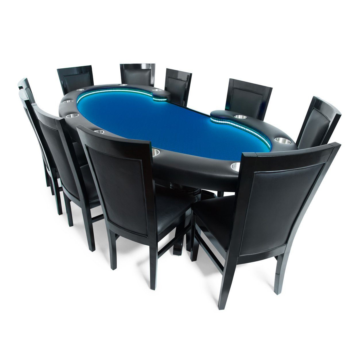 BBO Poker Lumen HD Lighted Poker Table for 10 Players with Blue Speed Cloth Playing Surface, 101.5 x 46-Inch Oval, Includes 10 Dining Chairs