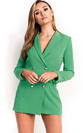 0a6bd4fba061 Ikrush Womens Carris Button Blazer Dress Green: Amazon.co.uk: Clothing