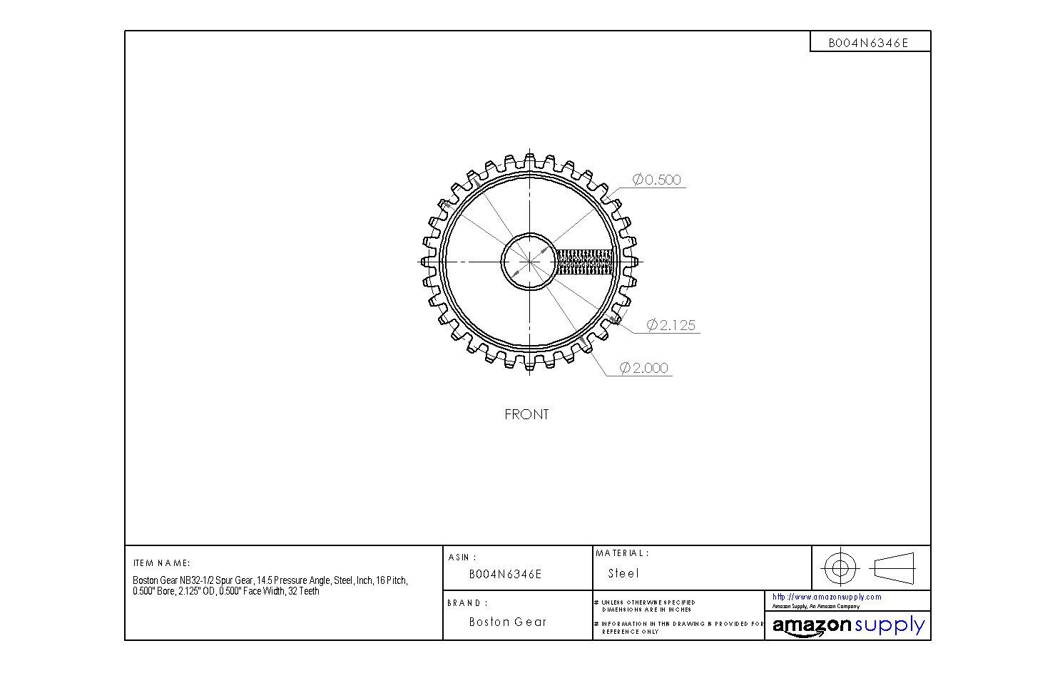 0.500 Face Width 1.875 OD Boston Gear NB28B-1//2 Spur Gear Steel 16 Pitch 28 Teeth Inch 14.5 Pressure Angle 0.500 Bore