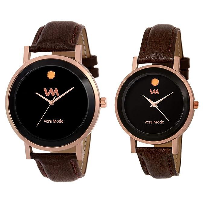 Vera Mode Movado Collection Quartz Analogue Black Dial Men's and Women's Couple Watch-Set of 2