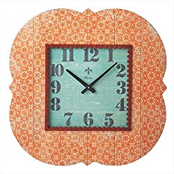 24 Distressed Finish Antique-Style Tangerine Orange Patterned Wall Clock