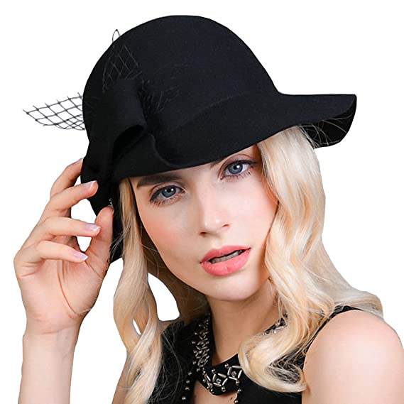Maitose reg  Women s Wool Felt Bow Flowers Church Bowler Hat Black ... d03251ecb224