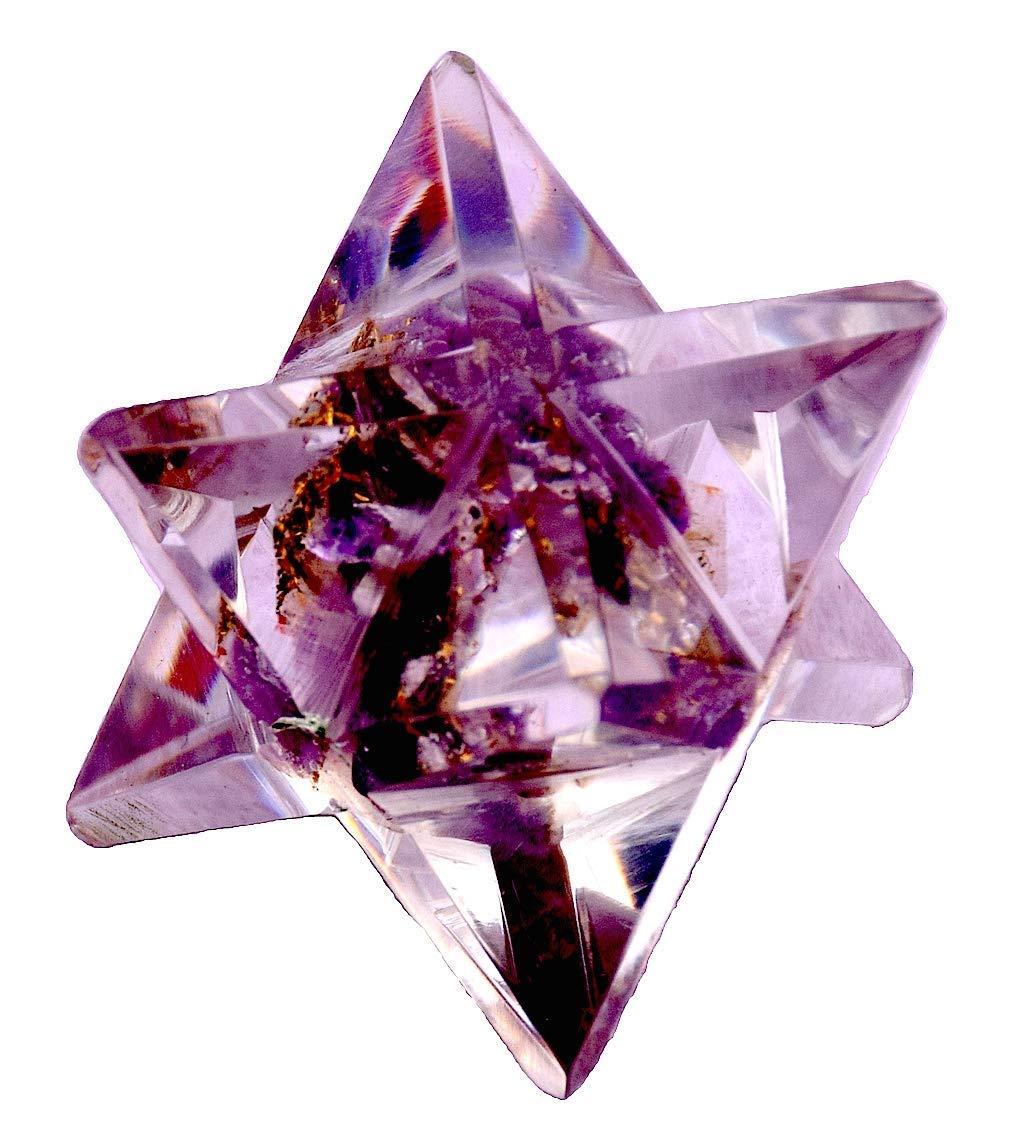 "1.5/"" Natural Amethyst Merkaba Star Geometry Chakra Quartz Crystal Healing 1PC"