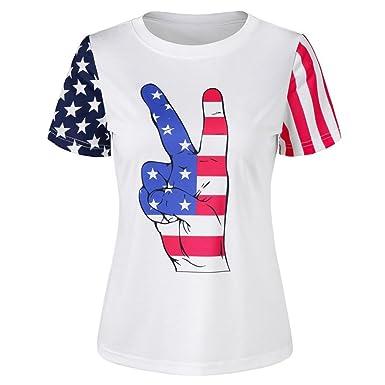 06ce56088d0 Amazon.com  2018 Caopixx Men Simple Casual Blouse Short Sleeve T-Shirt  American Flag Printed Tops Tee  Clothing