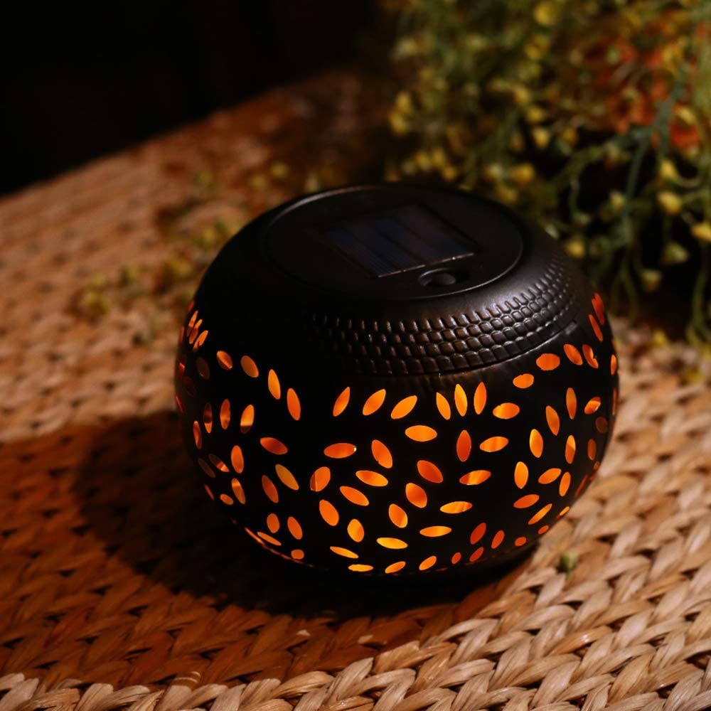pearlstar Solar Table Lantern - Flickering Flame Outdoor Waterproof Solar LED Light,Decorative Lamp Auto On/Off Lighting Dusk to Dawn for Desk Patio: Home Improvement