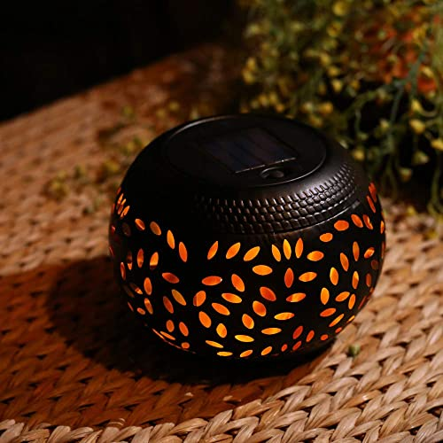 pearlstar Solar Table Lantern – Flickering Flame Outdoor Waterproof Solar LED Light Decorative Lamp Auto On Off Lighting Dusk to Dawn for Desk Patio