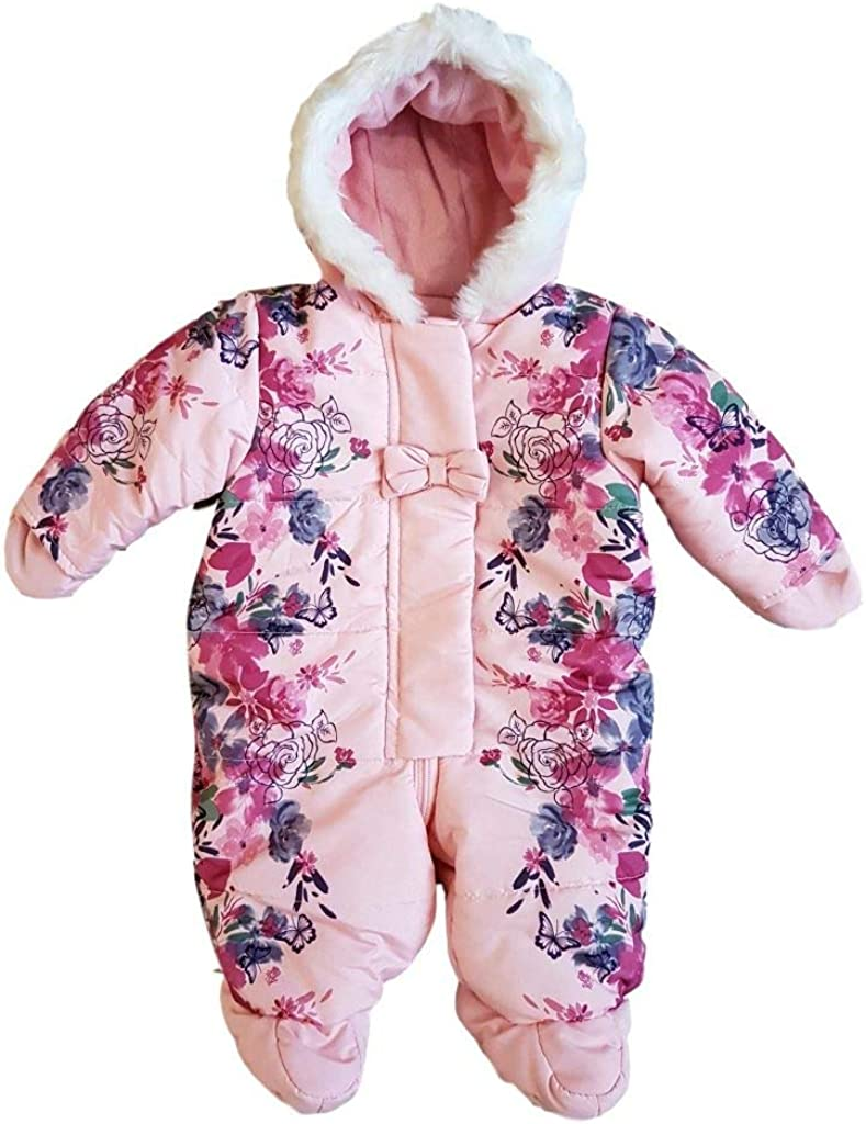 Ex Chain-store Pink Baby Girls Snowsuit Pramsuit Coat 0-12 Months