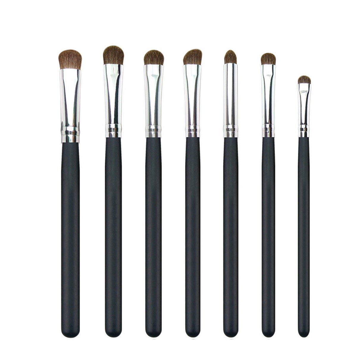 7 Pcs Natural Hair Makeup Brush Set Eyeshadow Eye Shadow Shader Blending Make Up Tool Foundation Beauty Palettes Vanity Deluxe Popular Eyes Face Colorful Rainbow Highlights Glitter Teens Travel Kit