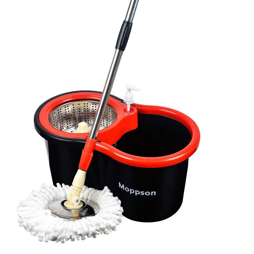 Moppson Spin Mop Bucket Floor Cleaning System Stainless Steel Floor Mop Easy-press Handle with 2 Microfiber Mop Heads New Upgraded