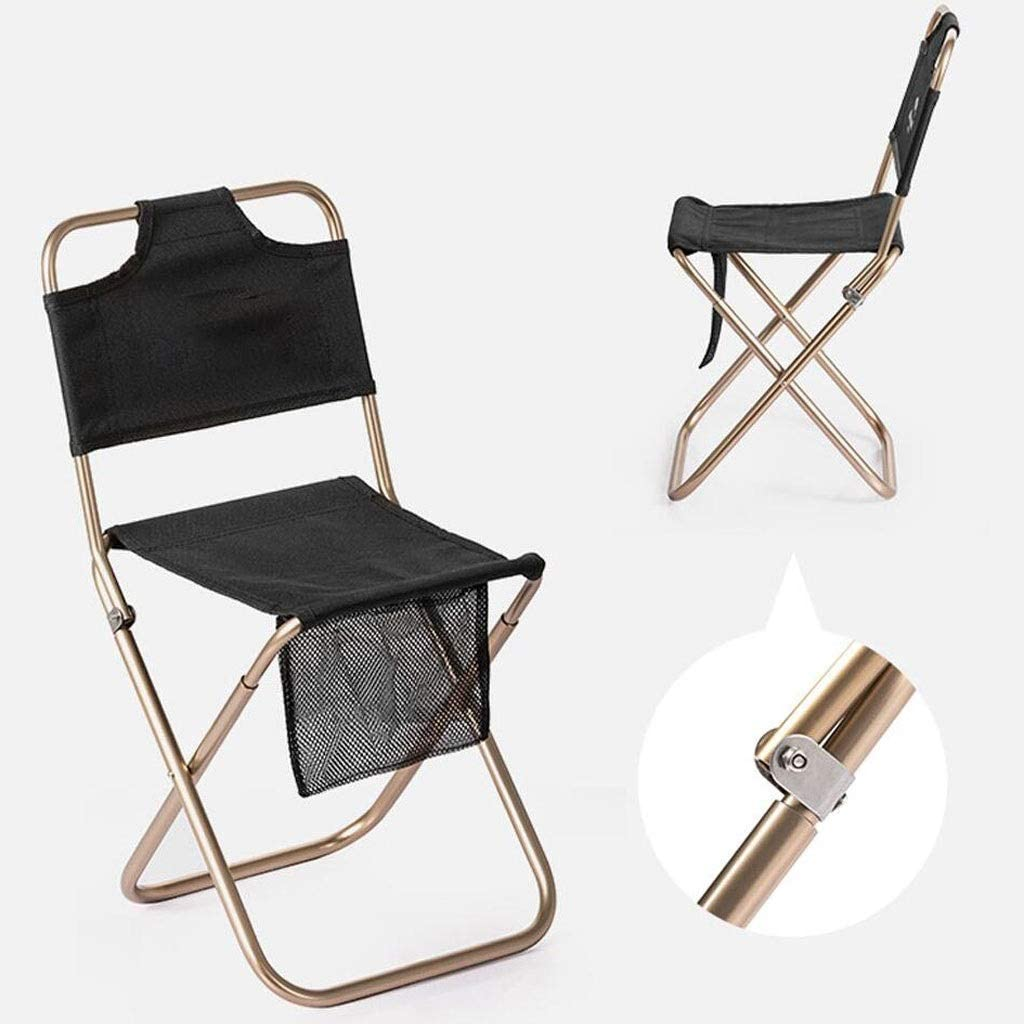 YULAN Folding stool portable outdoor ultra light folding chair art sketch stool back fishing stool 2 colors 23.5 * 22 * 46.5cm (Color : Black) Black