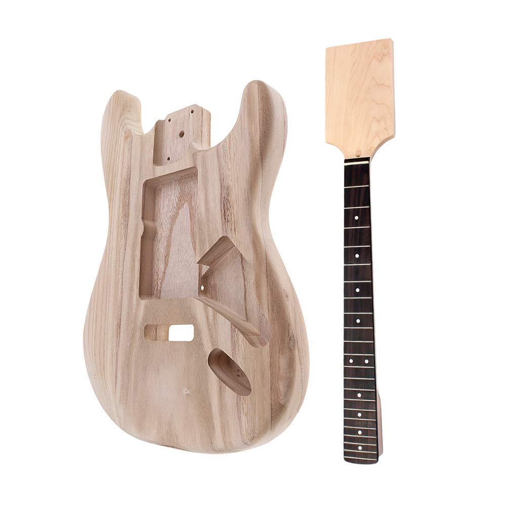 MagiDeal Exquisite Wood Unfinished Guitar Body + Neck Fretboard for Fender ST Electric Guitar DIY Parts