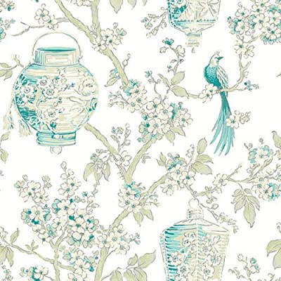 FD22760 - Mirabelle Room White/Turquoise Birds lanterns Fine Decor Wallpaper