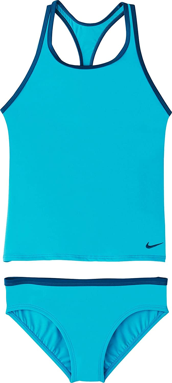 XS Nike Maillot de Bain pour Fille Dos Nageur Solide Sport Deux pièces Ensemble de Tankini Bleu Clair Fury