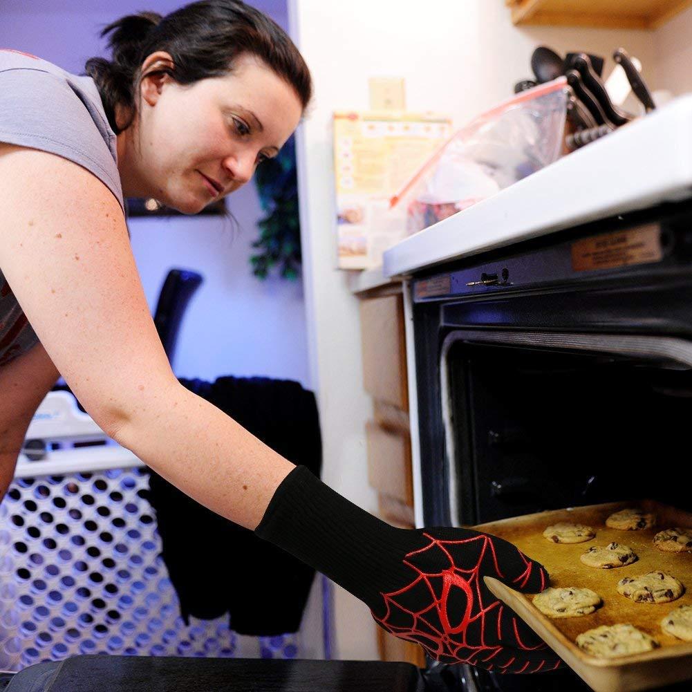 Better Choice Grillhandschuhe Backen und Schwei/ßen Premium Kochhandschuhe f/ür BBQ Rot Spinnenmuster 1 Paar 14 Kochen Ofenhandschuhe Hitzebest/ändige bis zu 800 /° C
