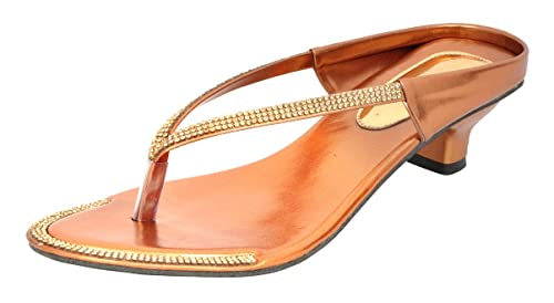 f0bf7c8f20ac86 Altek Stylish Brown and Golden Fashion Sandals Size - 3 UK for Women   Girl