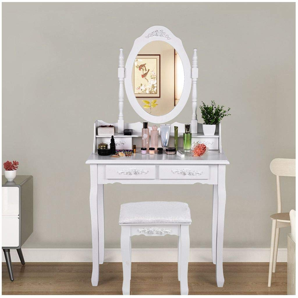 Lcyus Vanity Drawers Table Set, Makeup Vanity Set Oval Mirror Cushioned Stool Wood Dressing Table with 4 Drawers for Girls (White) by Lcyus