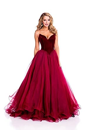 LYDIAGS Burgundy V Neck Formal Corset Prom Evening Dresses Celebrity Dress Lace Up UK6