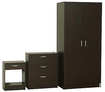 Dynamic24 3tlg Schlafzimmer Set Kleiderschrank Nachttisch Kommode