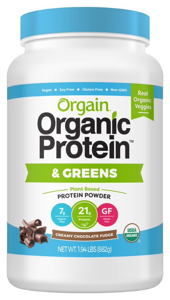 Orgain Organic Plant Based Protein & Greens Powder, Creamy Chocolate Fudge - Vegan, Dairy Free, Gluten Free, Lactose Free, Soy Free, Low Sugar, Kosher, Non-GMO, 1.94 Pound (Packaging May Vary)