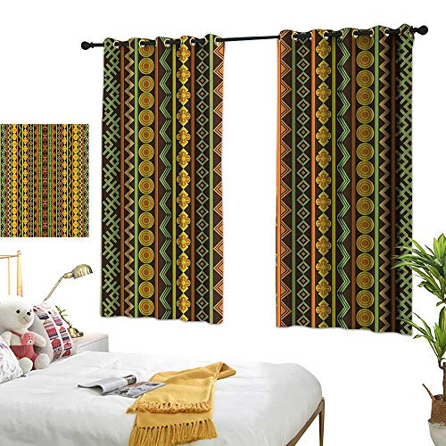 Warm Family Thermal Insulated Drapes for Kitchen/Bedroom Ethnic African Pattern with Geometric Figures Folk Cultural Abstract Art Print Noise Reducing 55