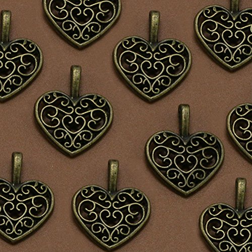 AKOAK 30 Pieces Antique Bronze Alloy Metal Heart Shape Hollow Charms Pendants for Jewelry Making DIY Bracelet Necklace from AKOAK