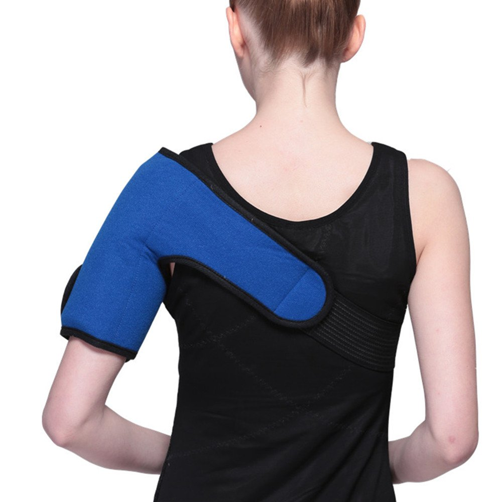 WORLD-BIO Shoulder Hot/Cold Therapy Wrap Gel Pack Relieve Pain & Soreness Decrease Swelling! Larger Coverage Area PLUS Convenient Adjustable Wrap