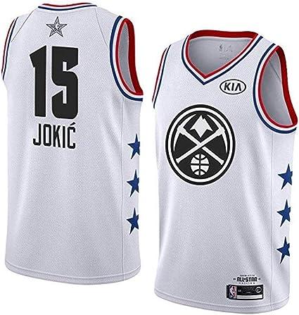 XH-Sport NBA Denver Nuggets 15# Nikola Jokic Tops de Baloncesto para fan/áticos de los Hombres Retro C/ómodo//Ligero//Transpirable de Malla Swingman Jersey Camiseta