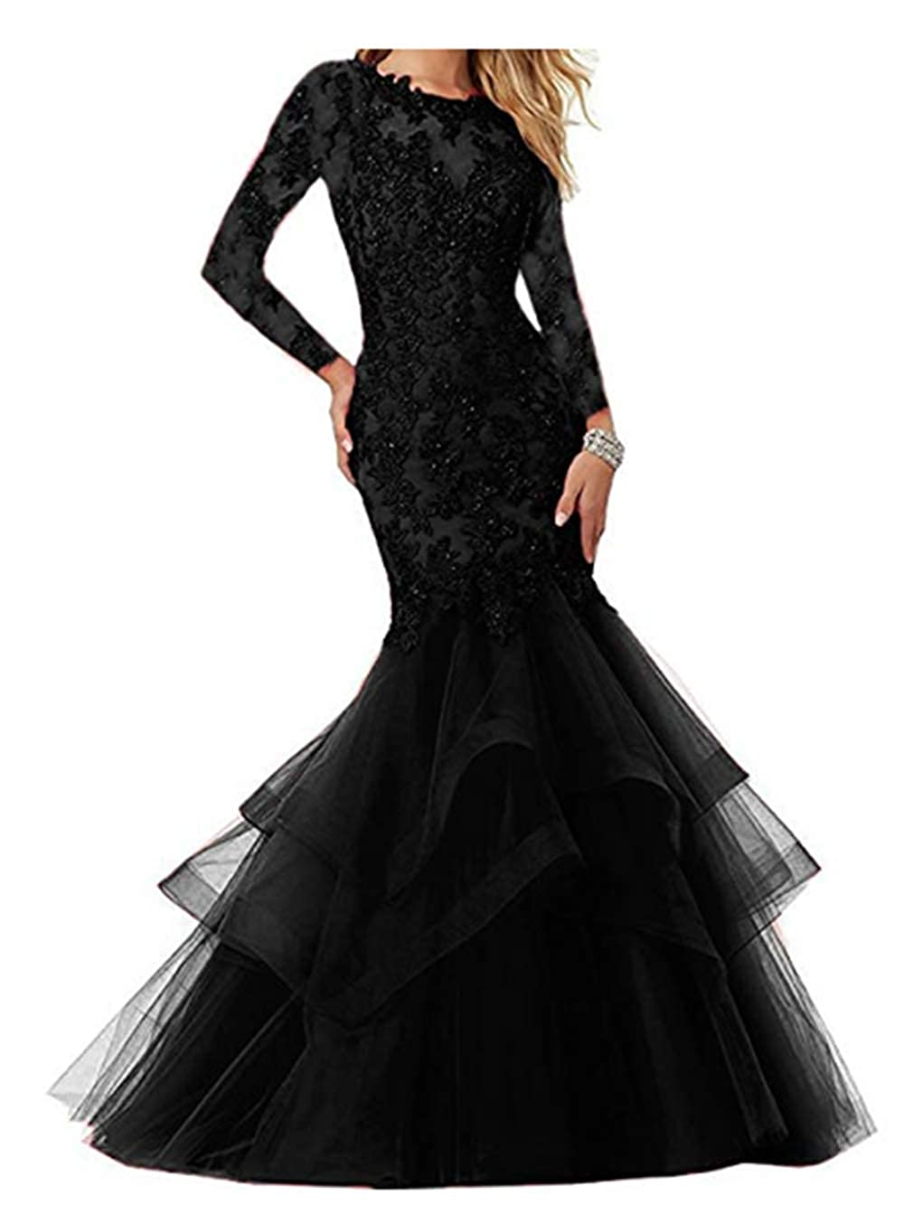Black FWVR Women's Mermaid Appliques Prom Dresses Long Sleeves Evening Wedding Party Gowns
