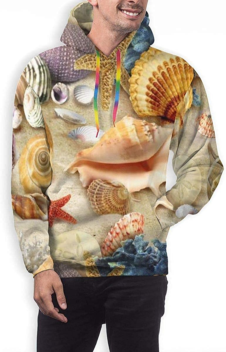GUAHUAXIANG Men Warm Hoodies Loose Drawstring Pullover Hooded Sweatshirt Starfish Conch Seashell M