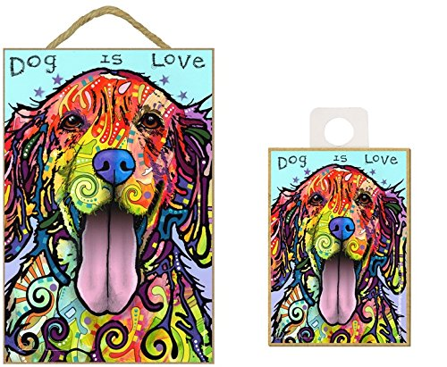 Dean Russo Golden Retriever DOG IS LOVE Wood Plaque Sign with Matching 2.5
