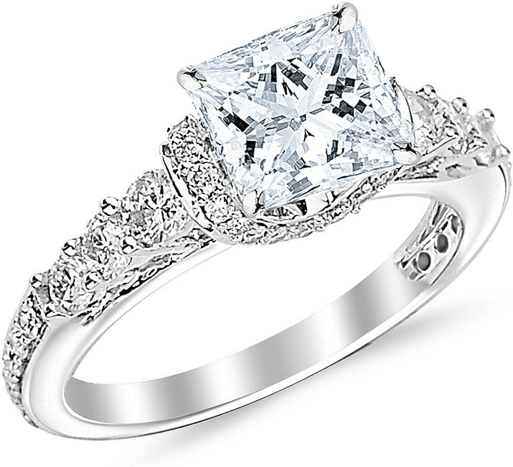 1 35 Carat Princess Cut Designer Four Prong Round Diamond Engagement Ring D F Color Vs2 Si1 Clarity Center Stone Amazon Com