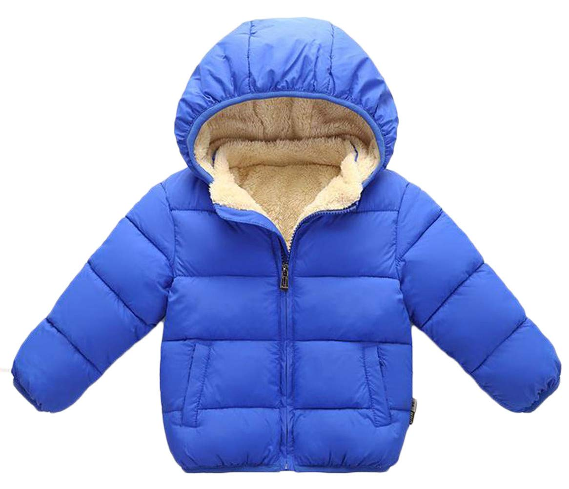 Etecredpow Boys Down Faux Fur Lined Zip Active Quilted Fleece Hoody Jacket Parka Coat Jewelry Blue 7T