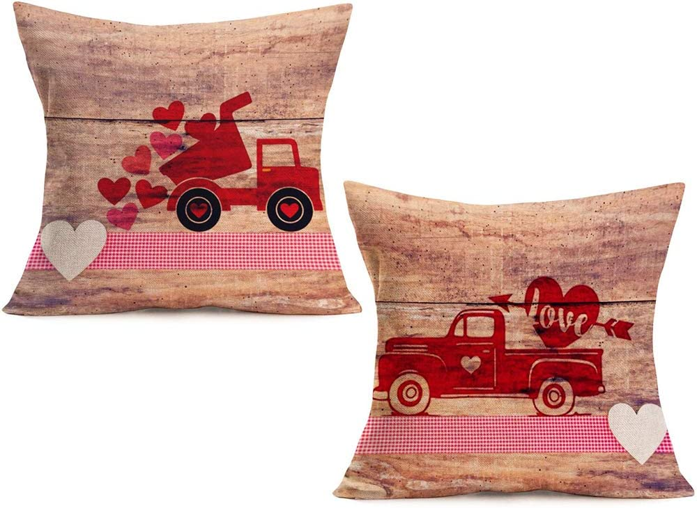 """Doitely Set of 2 Valentine's Day Home Decor Pillowcase Vintage Wood Red Truck with Love Sweet Heart Decorative Pillow Covers Cotton Linen Pillow Cases 18""""×18"""""""