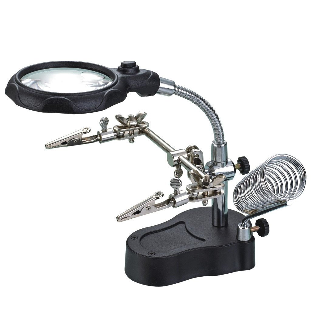 iKKEGOL 3rd Helping Hand Magnifying Welding Soldering Iron Stand, LED Magnifier, 3.5x 12x Lens Adjustable Alligator Clip Clamps Repair Tool