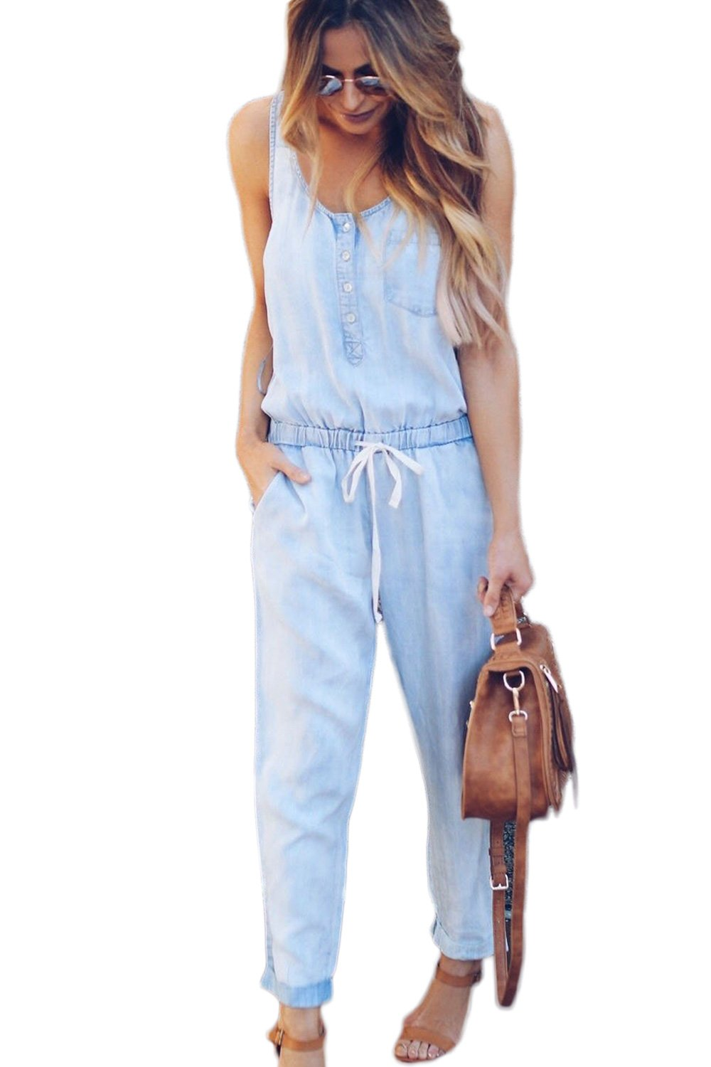 Sevozimda Womens Jean Jumpsuit Rompers Sleeveless Drawstring Cargo Pants Jumpsuits CAQZ3098
