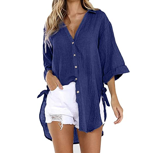 0b306d449a5f4a Amazon.com  NewlyBlouW Casual Shirt Womens 3 4 Sleeve Long Tops Solid Tee  Loose Cotton Soft Comfy Fashion Button Blouse Navy  Clothing