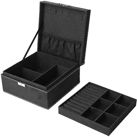 Cajas de Almacenamiento de joyería de Alto Grado y Doble, Estuche de Almacenamiento de Joyas Franela y Cuadrada con Ganchos: Amazon.es: Hogar
