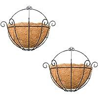 BAOBLADE 2pcs Half Round Planter Wall Hanging Coconut Indoor Outdoor Flower Pot 10''