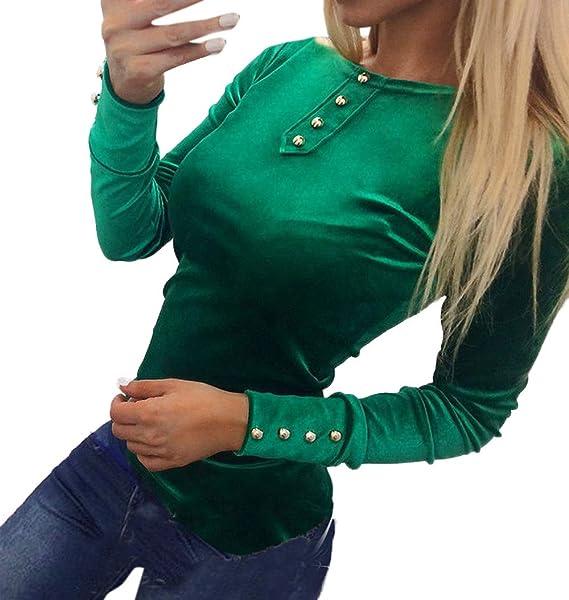 Primavera y Otoño Mujeres Apretado Tops Cuello Redondo Camisetas de Manga Larga Blusa Jumpers Sudaderas Moda